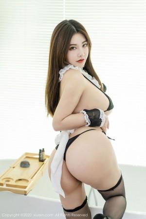 三点式女仆装黑丝美腿丁字裤制服诱惑美女模特秀人网-[软软Roro]超高清写真图片|1620444555更新
